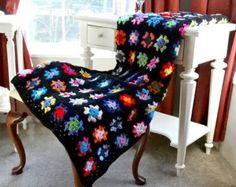 Granny Square Afghan, Crochet Blanket, Retro Fashion Throw, Crochet Folk Art