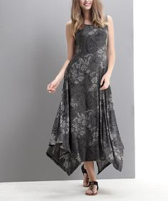 Look what I found on #zulily! Gray Floral Handkerchief Maxi Dress by Reborn Collection #zulilyfinds