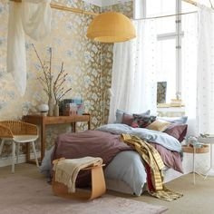 Teens Room Impressive Feminine Teenage Bedroom Vintage Floral Wallpaper Japanese  Inspired Bedroom White Framed Bed White Pattern Curtain Blue Quilt Cover ...