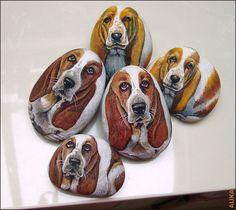 Hand painted rocks . Basset hounds by Alika-Rikki, via Flickr