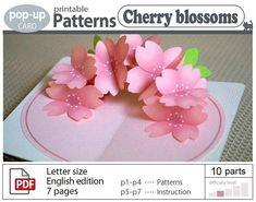 pop-up card_Cherry blossoms_ポップアップカード【桜の花】 Pop Up Flower Cards, Pop Up Cards, Pop Up Card Templates, Tarjetas Pop Up, Origami, Diy Crafts For Girls, Up Book, Book Art, Making Ideas