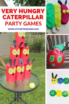 6 fun party game ideas for a Very Hungry Caterpillar party. Throw a brilliant kid's party or baby shower with a cute Very Hungry Caterpillar theme. First Birthday Party Themes, Kids Party Themes, Party Ideas, Fun Party Games, Party Activities, Hungry Caterpillar Games, Game Ideas, Childrens Party, Diy Party