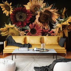 Wall mural curtesy of Area Environmments. Sunflower Room, Sunflower Wall Decor, Room Wall Painting, Mural Wall Art, Thomas Darnell, Living Room Murals, Living Rooms, Bold Wallpaper, Sunflower Wallpaper
