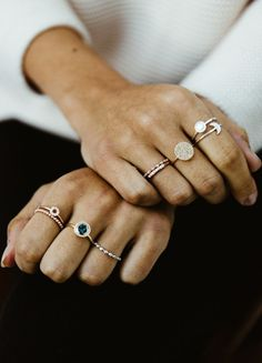 Layer your rings high and sideways for the ultimate diamond ring stack | Astley Clarke