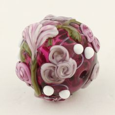 Lampwork Glass Bead  Hollow Focal Fuchsia with Lavender Flowers and Roses 'Kissing Ball' by StoneDesignsbySheila on Etsy