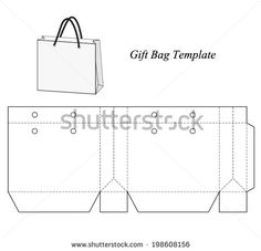 Shopping bag template, vector illustration - Shutterstock ID 198608156 Paper Bag Design, Paper Box Template, Leather Wallet Pattern, Printable Box, Box Patterns, Diy Box, Paper Gifts, Box Design, Gift Bags