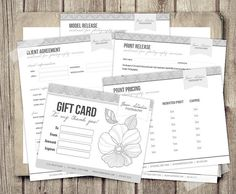 Deluxe Photography Business Forms - Agreement, Print and Model Release, Pricing and Gift Card Templates for Photographers - INSTANT DOWNLOAD...