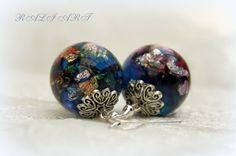 Valentine gift resin earrings Earrings resin gold by RALIJEWELLERY