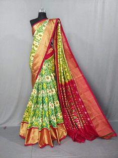 Pochampally ikkat green with pink handwoven pure silk saree Ikkat Pattu Sarees, Kanchipuram Saree, Pochampally Sarees, Pure Georgette Sarees, Pure Silk Sarees, Cotton Saree, Golden Saree, Bridal Silk Saree, Saree Wedding