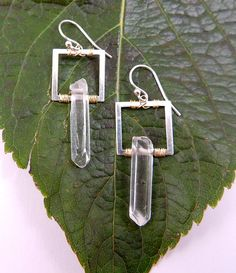 Rock Crystal Point Earrings Sterling Silver by PATCHOULIBIRD, $45.00