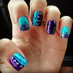 Purple and teal nails with some sparkle