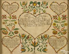 "Adam Wertz (Southeastern Pennsylvania, early/mid 19th century), ink and watercolor fraktur, initialed and dated 1831, for Jacob Spengler of Paradise Township, York County, with vibrant hearts, birds, and flowers, 13 1/4"" x 16 1/2""."