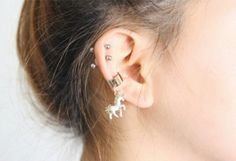 Cool Earrings - Pegasus Unicorn Ear Cuff Earring at MyBodiArt.com