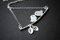 LOVE BIRD Necklace Two Initial LeavesMothers by SilverLotusDesigns, $32.00