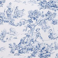 Covington Musee Blue 54 Fabric is a vintage toile from the Grand Manor Collection. This fabric features a classic two-tone toile design screen printed on cotton.