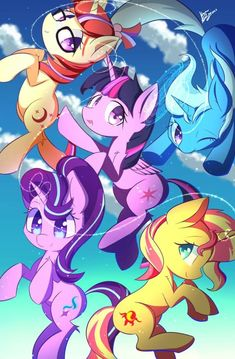 Trixie, Moon Dancer, Twilight Sparkle, Starlight Glimmer, and Sunset Shimmer.