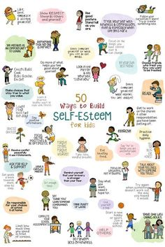 50 Ways to Help Kids Build Self-Esteem. Poster, fun school counseling lesson, and fortune teller activity. 50 Ways to Help Kids Build Self-Esteem. Poster, fun school counseling lesson, and fortune teller activity. Kids And Parenting, Parenting Advice, Parenting Books, Gentle Parenting, Parenting Quotes, Parenting Classes, Peaceful Parenting, Kids Mental Health, Building For Kids