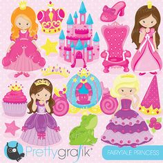Fairytale princess clipart for scrapbooking by Prettygrafikdesign
