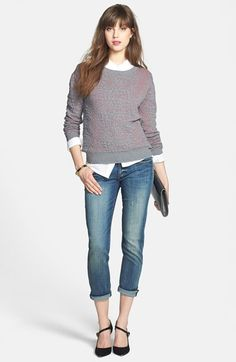 Halogen® Sweater, Caslon® Shirt & KUT from the Kloth 'Catherine' Boyfriend Jeans  available at #Nordstrom