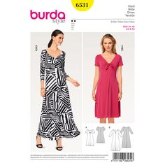 Two-way stretch jersey will allow a dress to hug your figure and be wonderfully comfortable at the same time. Both Misses' styles are flared at the hem.