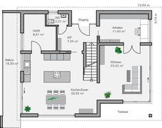 Einfamilienhaus neubau modern grundriss  Fertighaus Ilvesheim - Erdgeschoss | Hausideen | Pinterest ...