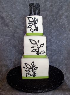 black wedding cake | Special Black and White and Green Wedding Cakes