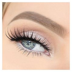 Bridal shimmery pink eyeshadow with eyelash extensions for blue eyes. ❤ liked on Polyvore featuring beauty products, makeup, eye makeup, eyeshadow, eyes, beauty and make