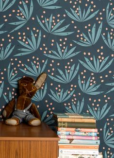 Papel de parede Wildflower azul oceano