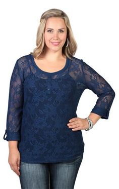 plus size lace front and sleeves three button front and placket