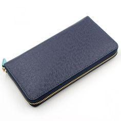 Leather Long Zip Around Wallet For Men/Women Card Cash Holder Organizer Bifold Wallets Navy Blue
