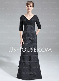 Mother of the Bride Dresses - $166.99 - Mermaid V-neck Sweep Train Chiffon Taffeta Mother of the Bride Dress With Ruffle (008006893) http://jjshouse.com/Mermaid-V-Neck-Sweep-Train-Chiffon-Taffeta-Mother-Of-The-Bride-Dress-With-Ruffle-008006893-g6893