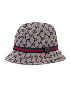 3393453eee6 Gucci Kids GG Supreme Canvas Bucket Hat w  Web Hat Band