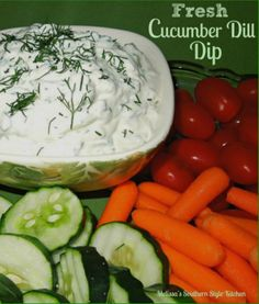 Fresh Cucumber Dill Dip - I'm sure the first cucumber dip must have been inspired by it's Greek cousin Tzatziki sauce. The fresh flavors are a real palate pleaser, and when cucumbers are in abundance, it's a given that this dip will show-up on my table.
