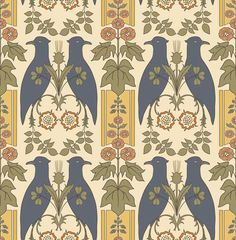 """Falcon and Hollyhock,"" a wallpaper from a C. Voysey design dating to From Trustworth Studios. ABOVE: ""Falcon and Hollyhock"" is a wallpaper from a C. Voysey design dating to From Trustworth Studios. Browse a specialized list of products and Stencil Patterns, Textile Patterns, Pattern Art, Textiles, Color Patterns, Style Patterns, Doll House Wallpaper, Home Wallpaper, Art Nouveau"