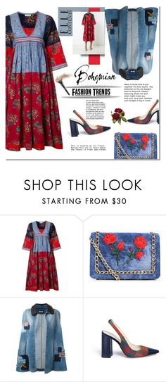 """""""Ulla Johnson V-neck embroidered midi dress"""" by faten-m-h ❤ liked on Polyvore featuring Ulla Johnson, Boohoo, Just Cavalli, Frances Valentine and Bohemian"""