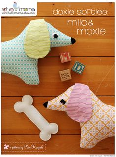 Doxie Softies Sewing Pattern - Instant Download! This listing is to purchase a PDF sewing pattern to make cute stuffed dachshund toys. With long floppy ears, Milo's bright eyes and Moxie's fluttering eyelashes, these irresistible pups will win your heart and brighten your room. Finished