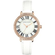 Anne Klein Women's White Leather Strap Watch 36mm AK/1616RGWT ($56) ❤ liked on Polyvore featuring jewelry, watches, white watches, black wrist watch, roman numeral watches, bezel watches and black watches