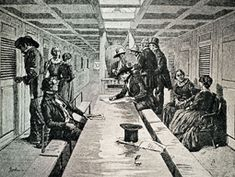 """On the Water - Maritime Nation, 1800-1850: Enterprise on the Water. """"Interior of the Saloon of a Sailing Packet-Ship"""""""