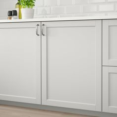 METOD Corner wall cabinet with shelves White/lerhyttan light grey IKEA Modern Kitchen Cupboards, Kitchen Cupboard Designs, Cosy Kitchen, Kitchen Units, Corner Base Cabinet, Corner Wall, Replacement Kitchen Doors, Office Built Ins, Light Grey Kitchens