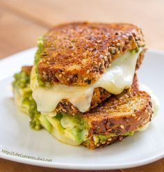 Three Cheese Pesto Avocado Grilled Cheese Sandwich is a great way to celebrate cheese with a full flavored and perfectly toasted sammie Pesto Grilled Cheeses, Grilled Cheese Avocado, Mason Jar Meals, Avocado Recipes, Healthy Recipes, Recipes From Heaven, Wrap Sandwiches, Cooking, Life