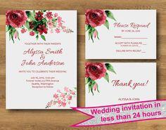 FLORAL WEDDING invitation Floral wedding por DesignMadeDesigns