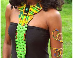 Handmade Fabric African Kente Necklace with Matching Upper Arm Cuff, Fabric Kente Necklace, Fabric Bib Necklace - African Jewelry Set,