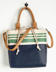 Navy blue with green stripes tote bag