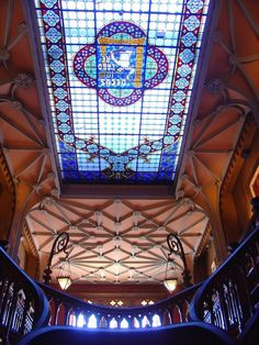The stained glass ceiling of the interior of the Lello bookstore in Porto #Portugal