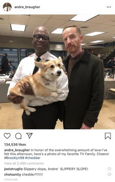 Captain Holt Holding an adorable Corgi<< excuse you, that's Cheddar, not some common bitch😒 Brooklyn Nine Nine Funny, Brooklyn 9 9, Andre Braugher, Jake And Amy, Cartoon Tv Shows, The Nines, Parks N Rec, Best Series, Series Movies