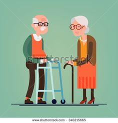 Retired elderly senior age couple in creative flat vector character design…