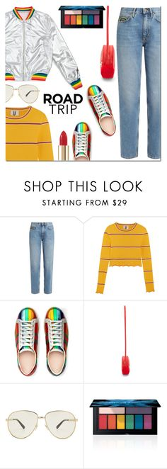 """""""Rev It Up: Road Trip Style"""" by danielle-487 ❤ liked on Polyvore featuring M.i.h Jeans, Topshop Unique, Gucci, Smashbox and roadtrip"""