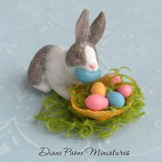 Bunny Rabbit Stealing Easter Eggs - Dollhouse Miniatures Easter $10.99
