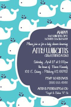 Modern whale baby shower invitation multiple by ohhappinessc Baby Shower Parties, Baby Shower Themes, Baby Boy Shower, Baby Showers, Baby Girl Invitations, Baby Shower Invitation Wording, Whale Party, Whale Nursery, Modern