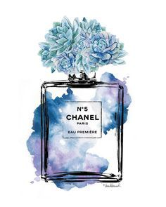 Perfume inspired print with blue watercolor,  - Dimensions: select from drop down menu - 8x10 inches 12x16 inches, 12x18 inches,16x20 inches,18x24 inches - 24x36 inches is available, please message for new listing. - Printed on archival, acid-free paper. - Museum-quality posters made on thick, durable, matte paper. - Most art comes with Signature on. - If you like an item in my shop but would like a different colour or style, just send me a message. - Colors depicted on your screen may be…
